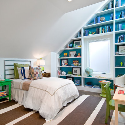 Inspiration for a transitional bedroom remodel in San Francisco with white walls