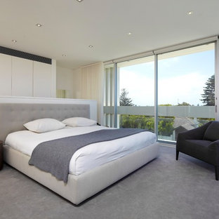 Contemporary master bedroom in Sydney with beige walls, carpet and grey floor.