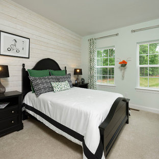 Inspiration for a farmhouse carpeted and beige floor bedroom remodel in Baltimore with white walls