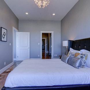 Modelo de dormitorio principal, actual, de tamaño medio, sin chimenea, con paredes grises, suelo de cemento y suelo multicolor