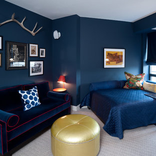 Bedroom - mid-sized contemporary guest carpeted and gray floor bedroom idea in Minneapolis with blue walls