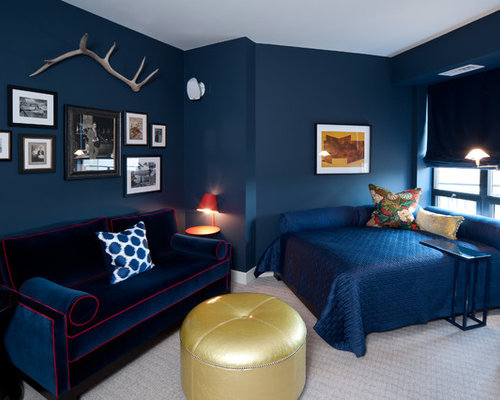 Bedroom   Mid Sized Contemporary Guest Carpeted And Gray Floor Bedroom Idea  In Minneapolis With