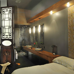 asian bedroom by Amelie de Gaulle Interiors