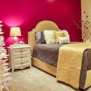 Diseño de habitación de invitados actual, de tamaño medio, sin chimenea, con paredes multicolor y moqueta