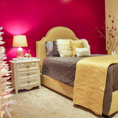 Example of a mid-sized trendy guest carpeted bedroom design in Salt Lake City with multicolored walls and no fireplace