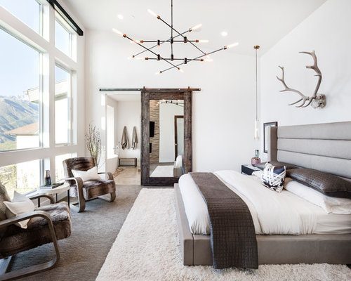rustikale schlafzimmer mit teppichboden ideen design bilder houzz. Black Bedroom Furniture Sets. Home Design Ideas