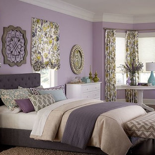 Inspiration for a large eclectic dark wood floor bedroom remodel in San Francisco with purple walls