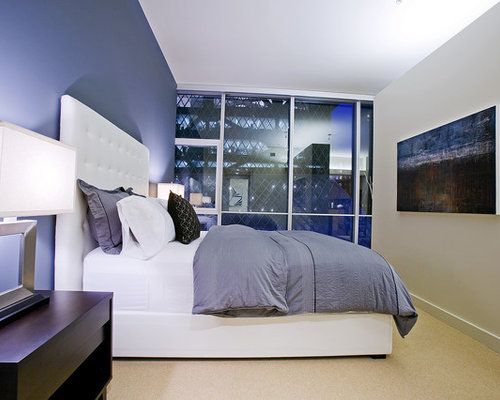 blue bedroom walls. Inspiration for a contemporary carpeted bedroom remodel in Seattle with  gray walls Blue Bedroom Walls Houzz