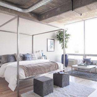 ボルチモアの広いコンテンポラリースタイルのおしゃれな主寝室 (白い壁、竹フローリング、標準型暖炉、コンクリートの暖炉まわり、茶色い床) のレイアウト