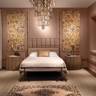Trendy bedroom photo in Chicago with beige walls