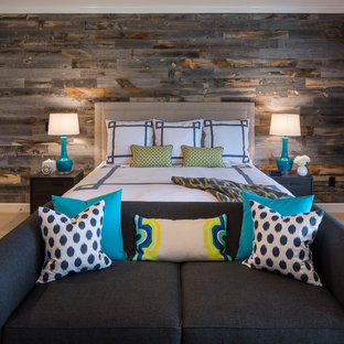 Bedroom - large transitional master carpeted bedroom idea in San Francisco with gray walls