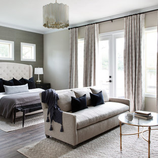 Mid-sized transitional master dark wood floor and gray floor bedroom photo in Austin with multicolored walls