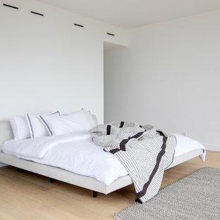 Diseño de dormitorio principal, minimalista, grande, con paredes blancas, suelo de madera clara, chimeneas suspendidas, marco de chimenea de metal y suelo beige