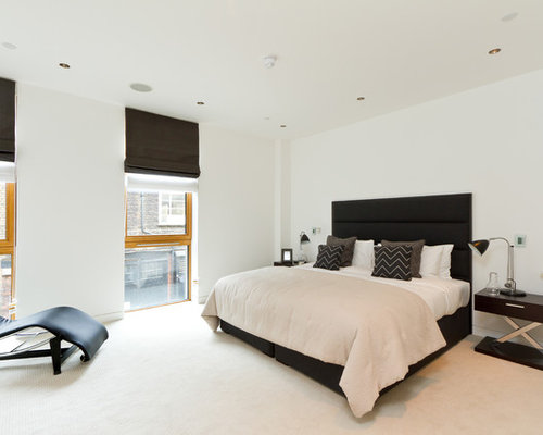 bedroom lounge chair. Contemporary bedroom idea in London with white walls Bedroom Lounge Chair  Houzz