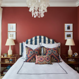 Tuscan carpeted and beige floor bedroom photo in Los Angeles with red walls