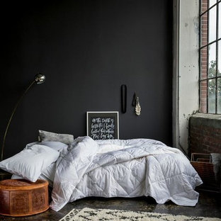 Photo of a mid-sized modern loft-style bedroom in New York with grey walls and concrete floors.