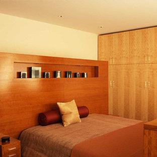 Foto de dormitorio tipo loft, moderno, de tamaño medio, con paredes amarillas