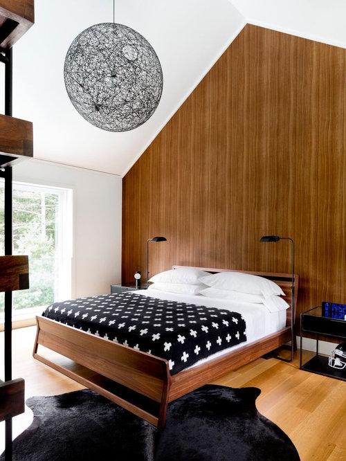 modern guest bedroom idea in new york with brown walls light hardwood floors and beige - Houzz Bedroom Ideas