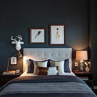 Esempio di una camera da letto contemporanea con pareti nere