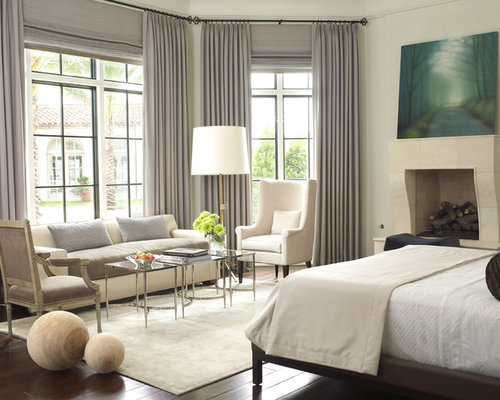 cream bedroom ideas. Example of a mid sized transitional master bedroom design in Houston with  standard fireplace Grey Cream Bedroom Ideas And Photos Houzz