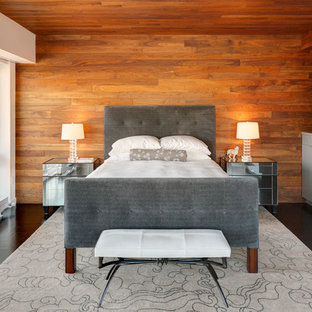Inspiration for a contemporary bedroom remodel in New York with brown walls