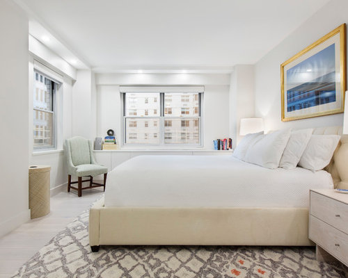 Bedroom   Transitional Master Painted Wood Floor And White Floor Bedroom  Idea In New York With
