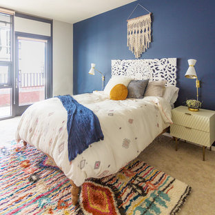 Bedroom - mid-sized scandinavian master carpeted and beige floor bedroom idea in San Diego with blue walls and no fireplace