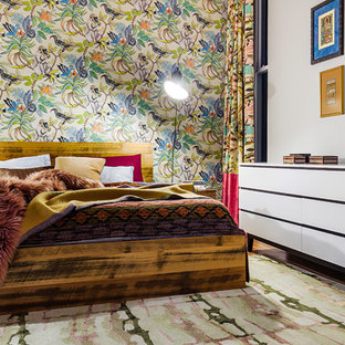 Photo of an eclectic bedroom in Sydney with multi-coloured walls.