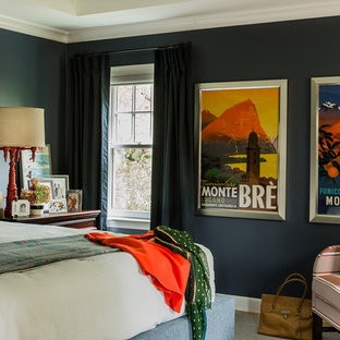 Eclectic master bedroom photo in Boston with black walls and no fireplace