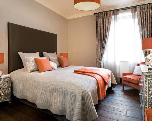 orange and gray bedroom. Example of an eclectic dark wood floor and brown bedroom design in  London with gray Grey And Orange Bedroom Houzz