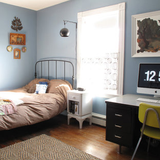 Example of an eclectic bedroom design in Boston with blue walls
