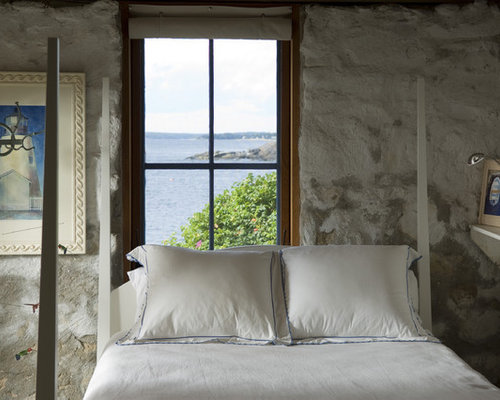 Example of a mountain style bedroom design with gray walls. Relaxing Bedroom   Houzz