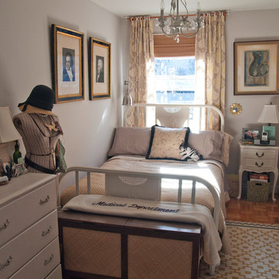 Inspiration for an eclectic medium tone wood floor bedroom remodel in New York with gray walls and no fireplace