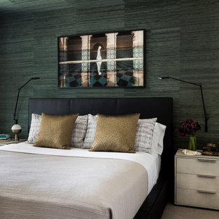 Example of a small eclectic master carpeted and beige floor bedroom design in Seattle with green walls and no fireplace