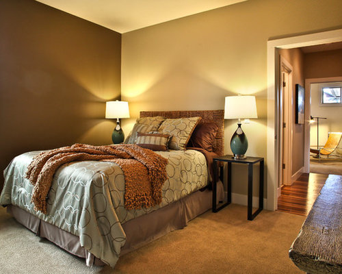 traditional bedroom idea in portland with brown walls and carpet - Earthy Bedroom Ideas