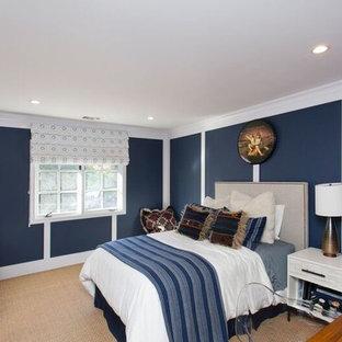 Пример оригинального дизайна: гостевая спальня среднего размера в стиле фьюжн с синими стенами и ковровым покрытием