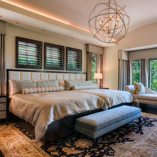 Example of a large eclectic master medium tone wood floor bedroom design in Other with beige walls, a ribbon fireplace and a stone fireplace