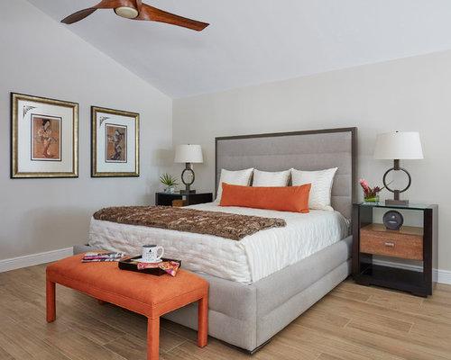 Inspiration For A Zen Master Beige Floor Bedroom Remodel In Miami With Gray  Walls