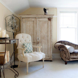 Inspiration for a large shabby-chic style master carpeted bedroom remodel in Portland with yellow walls and no fireplace