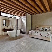 rustic bedroom by alexandre parent - Master Bedroom With Open Bathroom