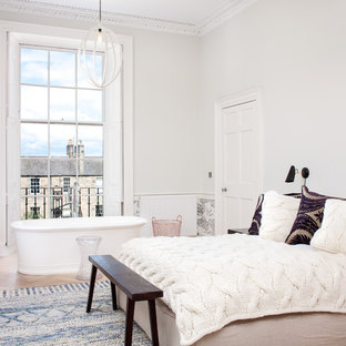 This Is An Example Of A Medium Sized Traditional Bedroom In Edinburgh With Grey Walls And