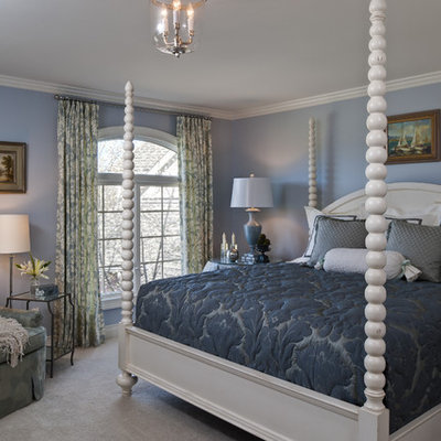 Elegant carpeted and gray floor bedroom photo in Detroit with blue walls and no fireplace