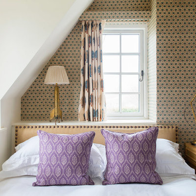 Inspiration for a timeless bedroom remodel in Gloucestershire with multicolored walls