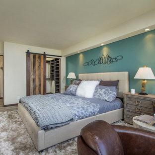 Example of a coastal medium tone wood floor bedroom design in San Diego with blue walls
