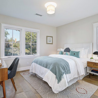 Inspiration For A Farmhouse Guest Bamboo Floor And Brown Floor Bedroom  Remodel In Los Angeles