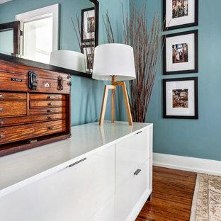 他の地域の小さいトランジショナルスタイルのおしゃれな主寝室 (青い壁、無垢フローリング)