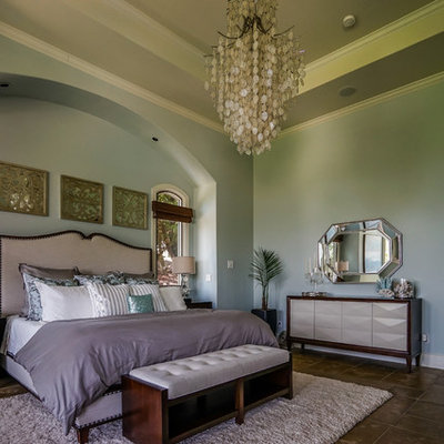 Bedroom - transitional bedroom idea in Austin with green walls
