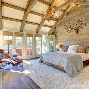 Example of a huge classic master medium tone wood floor bedroom design in San Francisco with a standard fireplace and a stone fireplace