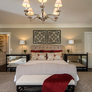 Inspiration for a timeless master dark wood floor bedroom remodel in New York with gray walls and no fireplace