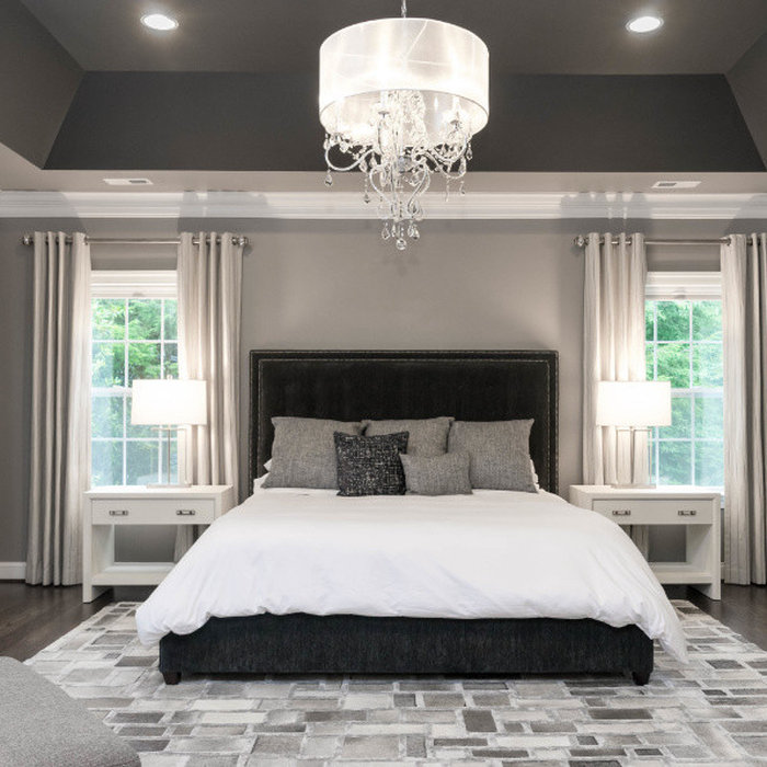 Elegant Master Bedroom in Shades of Gray and a Bit of Navy